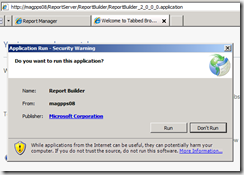 Report Builder 2.0 URL application access