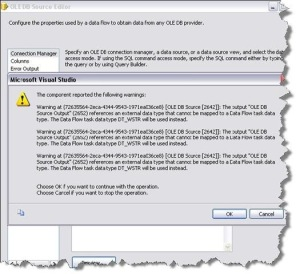 SSIS 2008 ADO NET Source issue with SSAS data source – error code 0×80004002